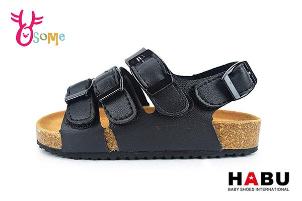 HABU哈布涼鞋 男童涼鞋 柏肯涼鞋 軟皮軟墊休閒涼鞋J6492#黑◆OSOME奧森鞋業