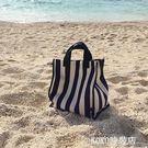 KBP大容量條紋購物袋帆布韓版手提女包防水簡約學生環保袋 KOKO時裝店