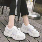 透氣網面老爹鞋跑步鞋韓版繫帶厚底運動鞋小白鞋 【歐亞時尚】