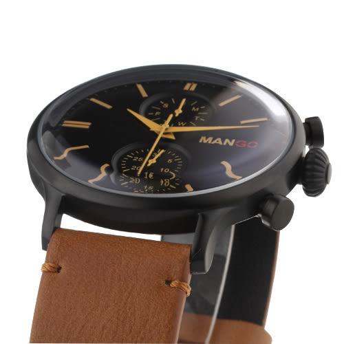 MANGO HOMME 簡約復古不鏽鋼時尚腕錶-黑x淺咖/45mm