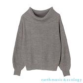 「Hot item」寬鬆翻領設計縮袖針織衫 - earth music&ecology