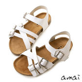 amai牛皮多層次皮帶釦環休閒涼鞋 白