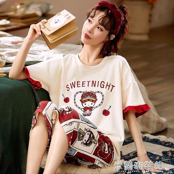 睡衣 睡衣女夏季純棉2021年新款短袖七分褲女士家居服兩件套大碼春夏天 快速出貨
