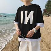 夏季短袖男士假兩件韓版T恤半袖男裝衣服情侶上衣寬鬆原宿風 萬聖節