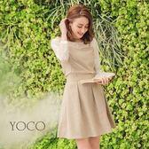 東京著衣【YOCO】女孩氣質假兩件式蕾絲格紋洋裝套裝-S.M.L(180134)