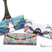 太陽鏡折疊式眼鏡盒便攜式墨鏡盒木紋復古男女三角正韓眼鏡盒