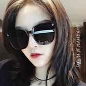 潮款連體時尚街拍太陽鏡無邊框超黑色墨鏡女大框圓臉方框眼鏡 color shop
