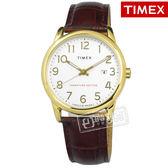 TIMEX 天美時 / TXTW2R65100 / 美國第一品牌 專利冷光照明 數字時標 日期 真皮手錶 白x金框x咖啡 38mm