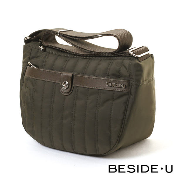Backbager 背包族【英國 BESIDE-U】FLOATING系列 輕量弧型肩斜背包/ 側背包(軍綠色)