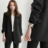 秋冬新款韓版小西裝女中長款西服長袖時尚百搭休閒寬鬆外套 衣櫥秘密