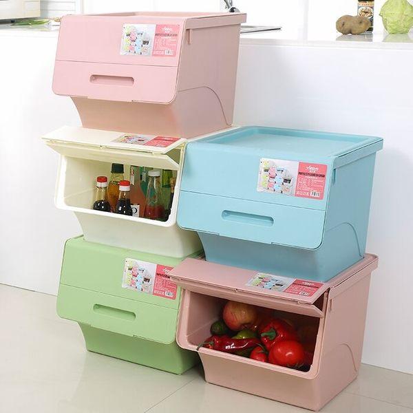 直取式馬卡龍色整理箱   玩具收納盒整理箱xw