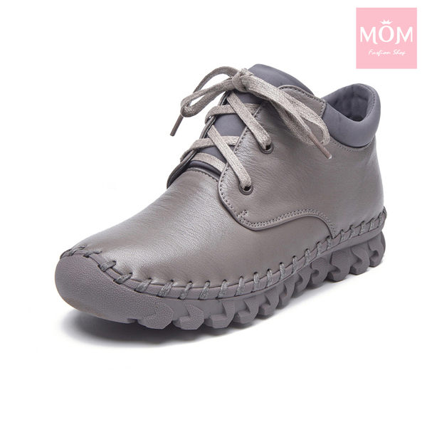 全真皮百搭舒適手工縫線綁帶設計休閒短靴 灰 *MOM*