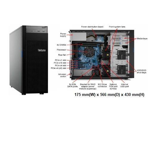 ●附原廠1TBx2●Lenovo ST250 (7Y45S2T000) 3.5吋熱抽伺服器【Intel Xeon E-2224 / 8GBx2 / Raid-0/1/10/5 / 550W】