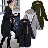 棉質外套 歐美風長版風衣式連帽外套S~5XL 艾爾莎【TAE7904】