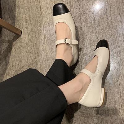 真皮手工女鞋 一字扣平底鞋 拼色瑪麗珍鞋/3色-夢想家-標準碼-0401