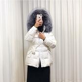 羽絨夾克-白鴨絨-狐狸毛領連帽腰帶短款女外套3色73zc35【時尚巴黎】