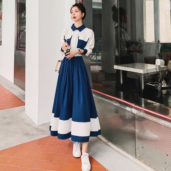 降價兩天 假兩件襯衫連身裙女 2020秋季收腰氣質長袖中長款裙子
