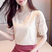 白色方領蕾絲上衣女短款洋氣2020款夏季設計感小眾短袖仙氣雪紡衫大碼