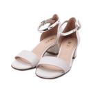 LUZZI 羊皮一字粗跟涼鞋 米 21052-1 女鞋