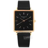 ROSEFIELD / QBRTR-X221 / 簡約典雅 復古方形 日本機芯 日期 真皮手錶 錶帶禮盒組 黑x玫瑰金框 26mm
