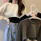 長袖毛衣 短款套頭針織衫女秋季2020新款高腰半截露臍長袖慵懶毛衣罩衫上衣 風馳