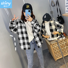 【V9248】shiny藍格子-時尚休閒.黑白格子長袖襯衫