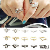 Qmigirl 韓版珍珠水鑽簡單極細款戒指五件套【QG1750】