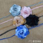 甜美腰帶女裝飾連衣裙民族風編織大腰花朵復古打結流蘇腰繩腰鍊     麥吉良品