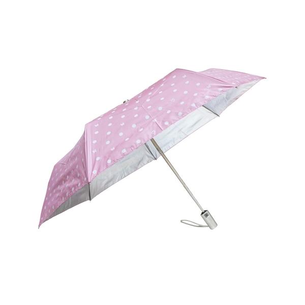 雨傘 陽傘 萊登傘 抗UV 防曬 不回彈 無段自動傘 自動開合 銀膠 圓點印花 Leighton(粉紅)