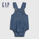 Gap女嬰 時尚水洗牛仔吊帶包屁衣 580592-中度水洗