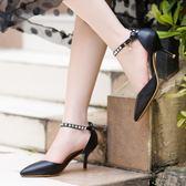 水鑽一字扣帶小白鞋 性感高跟涼鞋《小師妹》sm432