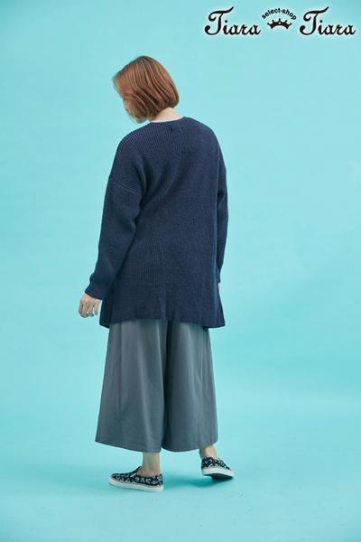 【Tiara Tiara】單色雙口袋長版粗針織罩衫外套(深藍/灰)