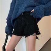 時尚閃閃黑色高腰顯瘦毛邊牛仔短褲女2019早春韓版百搭褲子四季款