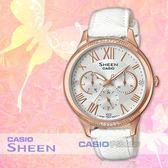 CASIO卡西歐 手錶專賣店 國隆 SHEEN SHE-3058LTD-7A 三眼指針女錶 皮革錶帶 銀 防水