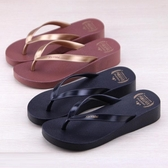 夏季新款拖鞋厚底坡跟人字拖女夏時尚外穿拖鞋夾腳沙灘百搭新品上新