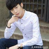 秋季新款男士長袖襯衫韓版修身潮青年休閒男裝印花薄款襯衣 時尚潮流