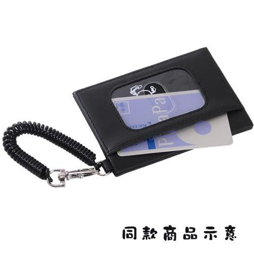 SNOOPY黑白系列PU皮革票卡夾附電話線圈式伸縮拉繩(查理布朗大臉黑)★funbox★Marimo_FT66376