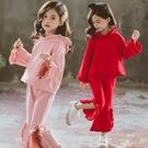 *╮小衣衫S13╭*中大女童純色花邊連帽長袖上衣開岔喇叭褲套裝1080935