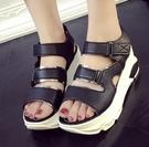 坡跟涼鞋 鬆糕厚底坡跟高跟鞋平底涼鞋女夏季中跟新款時尚韓版女鞋【限時八五鉅惠】