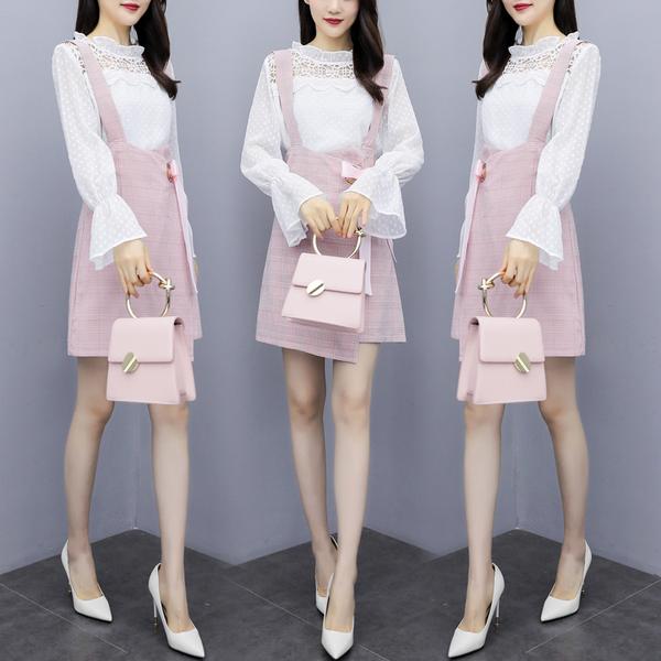 VK旗艦店 韓國風蕾絲拼接喇叭袖開叉裙套裝長袖裙裝