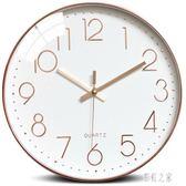 客廳家用臥室現代簡約大氣個性時鐘圓形靜音掛表歐式創意復古掛鐘PH194【彩虹之家】
