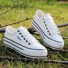 休閒鞋 韓版低筒白色女學生厚底鬆糕鞋百搭單鞋板鞋平跟休閒鞋 【Ifashion·全店免運】