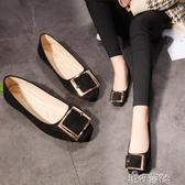 正韓英倫學院圓頭單鞋平底樂福鞋金屬扣黑色工作軟妹 新年禮物