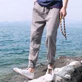 中國風棉麻九分褲男哈倫褲束腳褲子亞麻小腳褲運動褲燈籠褲子    琉璃美衣