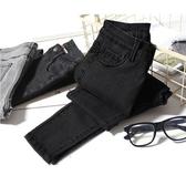 黑色牛仔褲女加絨高腰緊身九分鉛筆褲韓版冬彈力學生小腳長褲正韓 免運