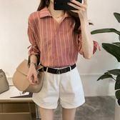 新年大促 2018夏裝女裝新款韓范ins短袖條紋襯衫女寬鬆休閒襯衣潮大碼上衣