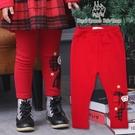 小童聖誕風紅色蝴蝶結不倒絨刷毛內搭褲[8...