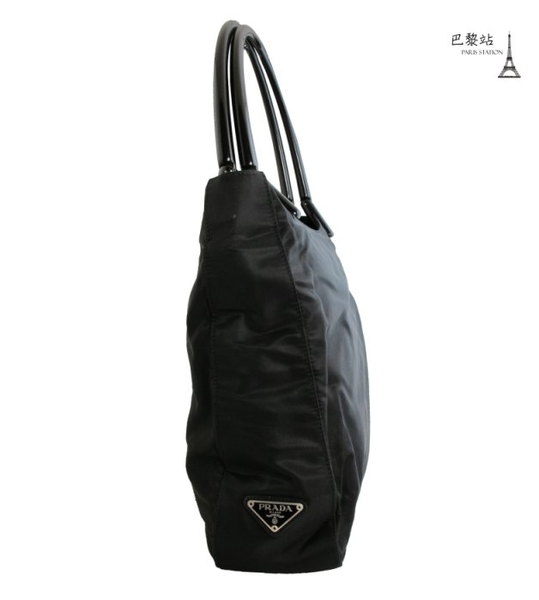 【巴黎站二手名牌專賣店】*現貨*PRADA 真品*三角浮雕LOGO壓克力提把直式黑色手提/肩背包