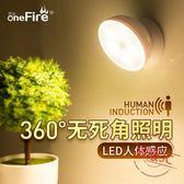 Led人體感應智能小夜燈充電池式床頭聲控燈過道家用樓梯廁所走廊
