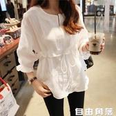 棉麻白色襯衫 韓版女裝大碼中長款 百搭亞麻襯衣 自由角落